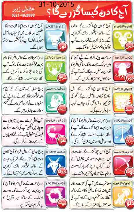 Daily Horoscope in Urdu Today 31st October 2015