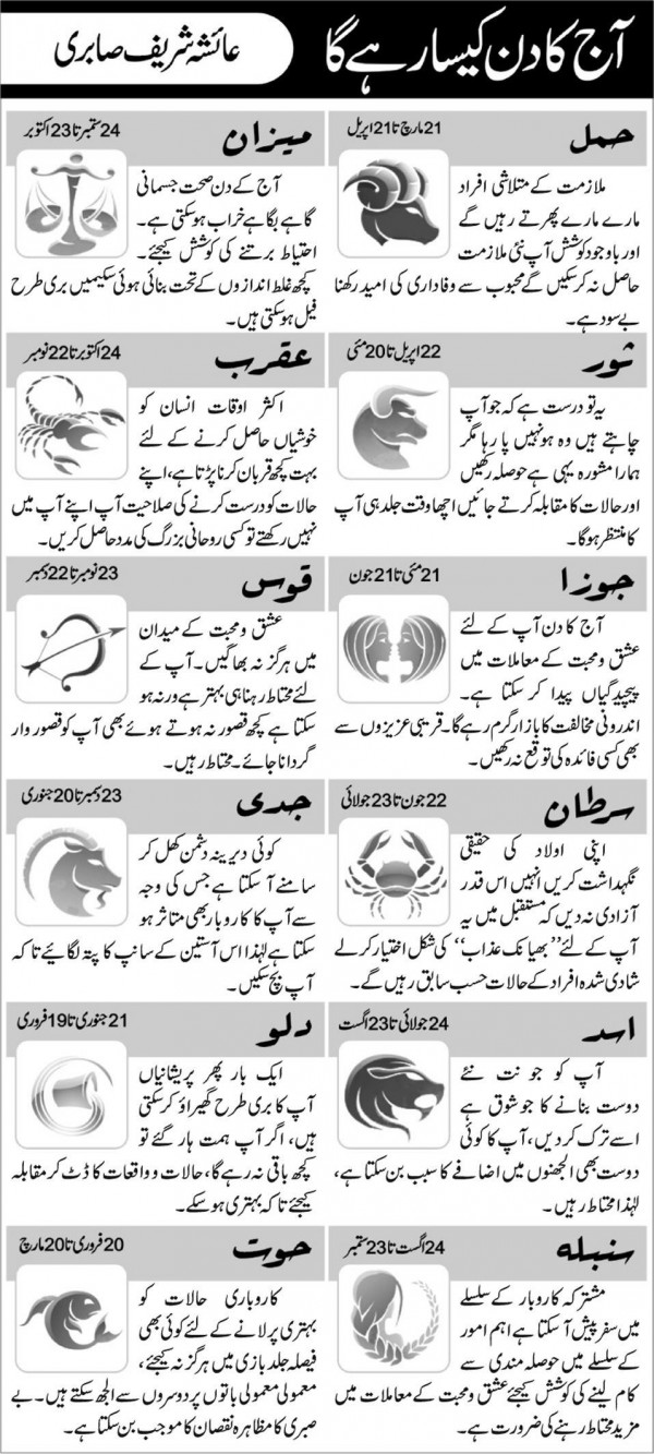 Daily Horoscope in Urdu 13 November 2015 Today