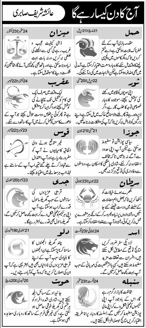 Daily Horoscope in Urdu 22 November 2015 Sunday