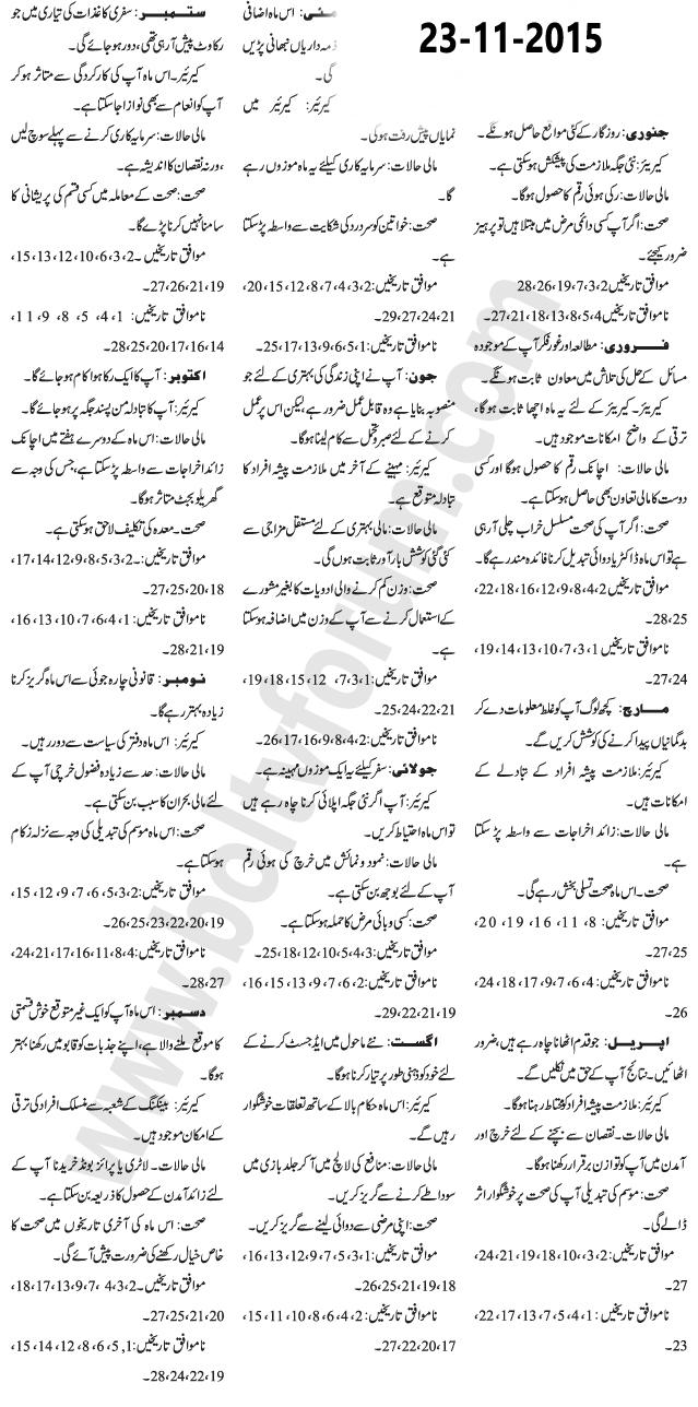Daily Horoscope in Urdu 23 November 2015 Today
