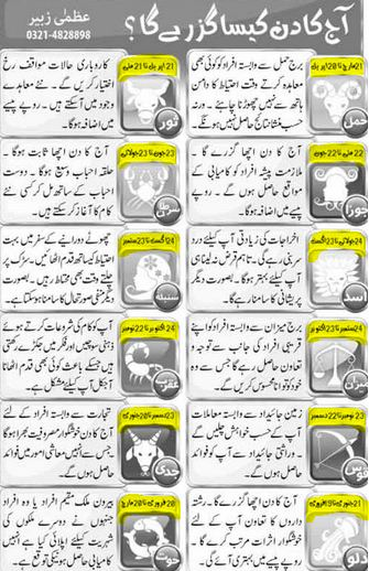 Daily Horoscope in Urdu 29 December 2015 Online