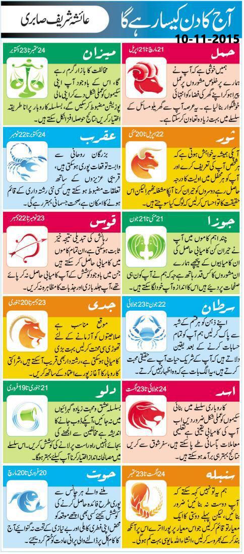 Today Daily Horoscope in Urdu 10 November 2015