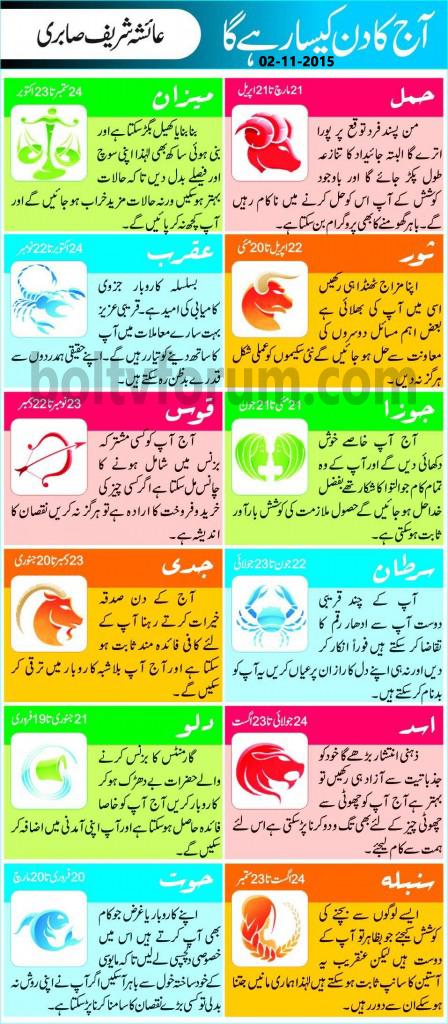 Daily Horoscope in Urdu Today 2 November 2015
