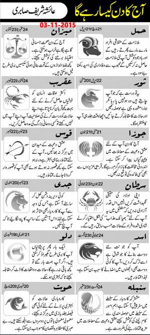 Daily Horoscope in Urdu Today 3 November 2015