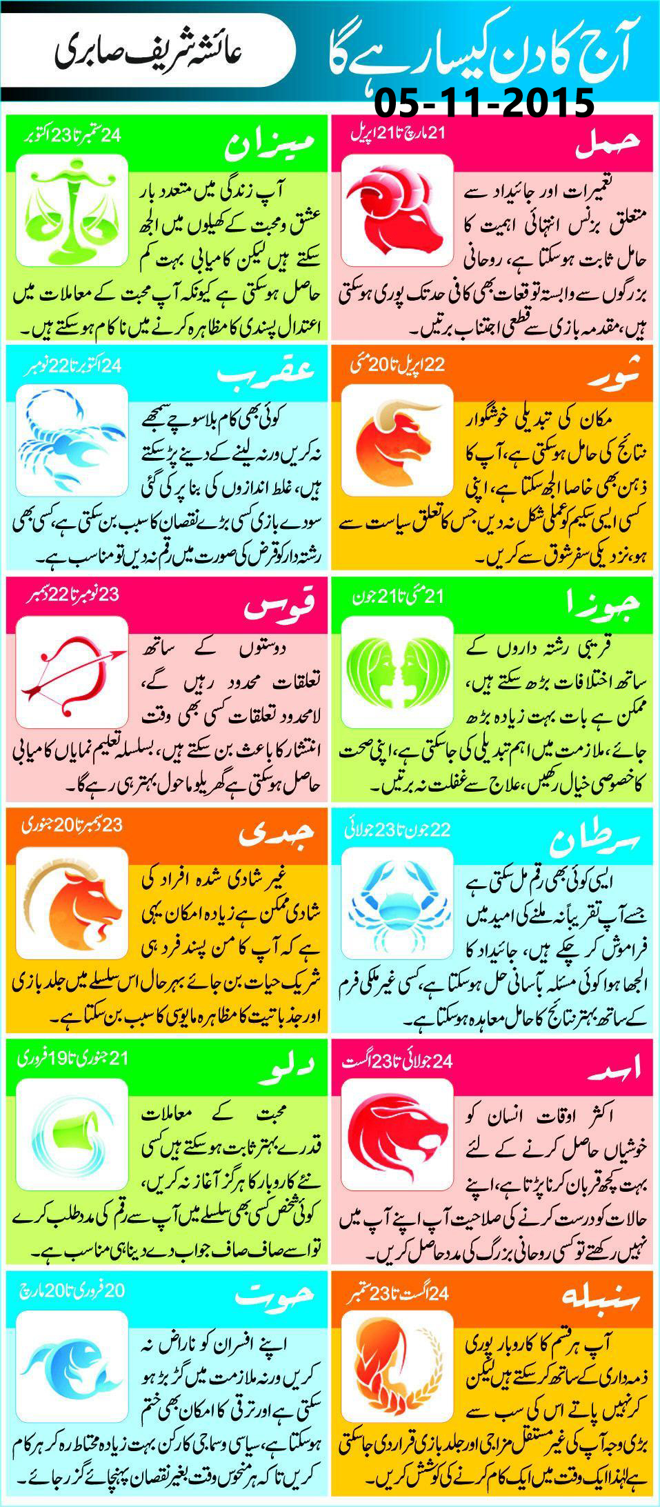 Daily Horoscope in Urdu Today 05 Nov 2015
