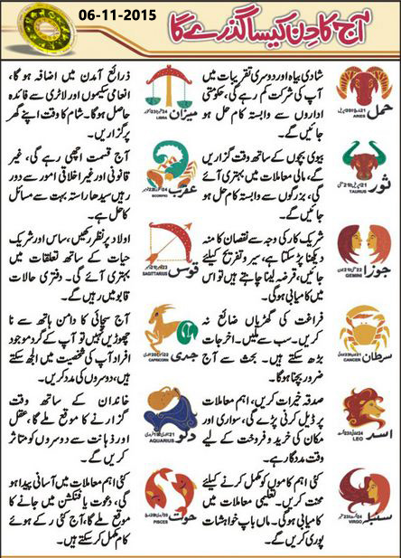 Today Daily Horoscope in Urdu 6 November 2015