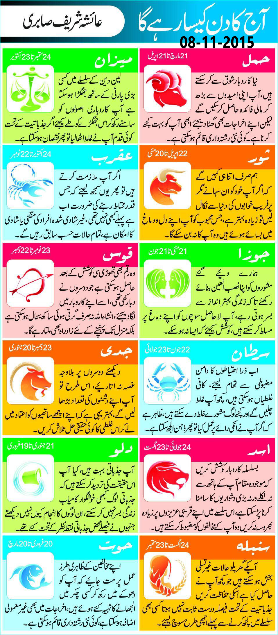Today Daily Horoscope in Urdu 8 November 2015